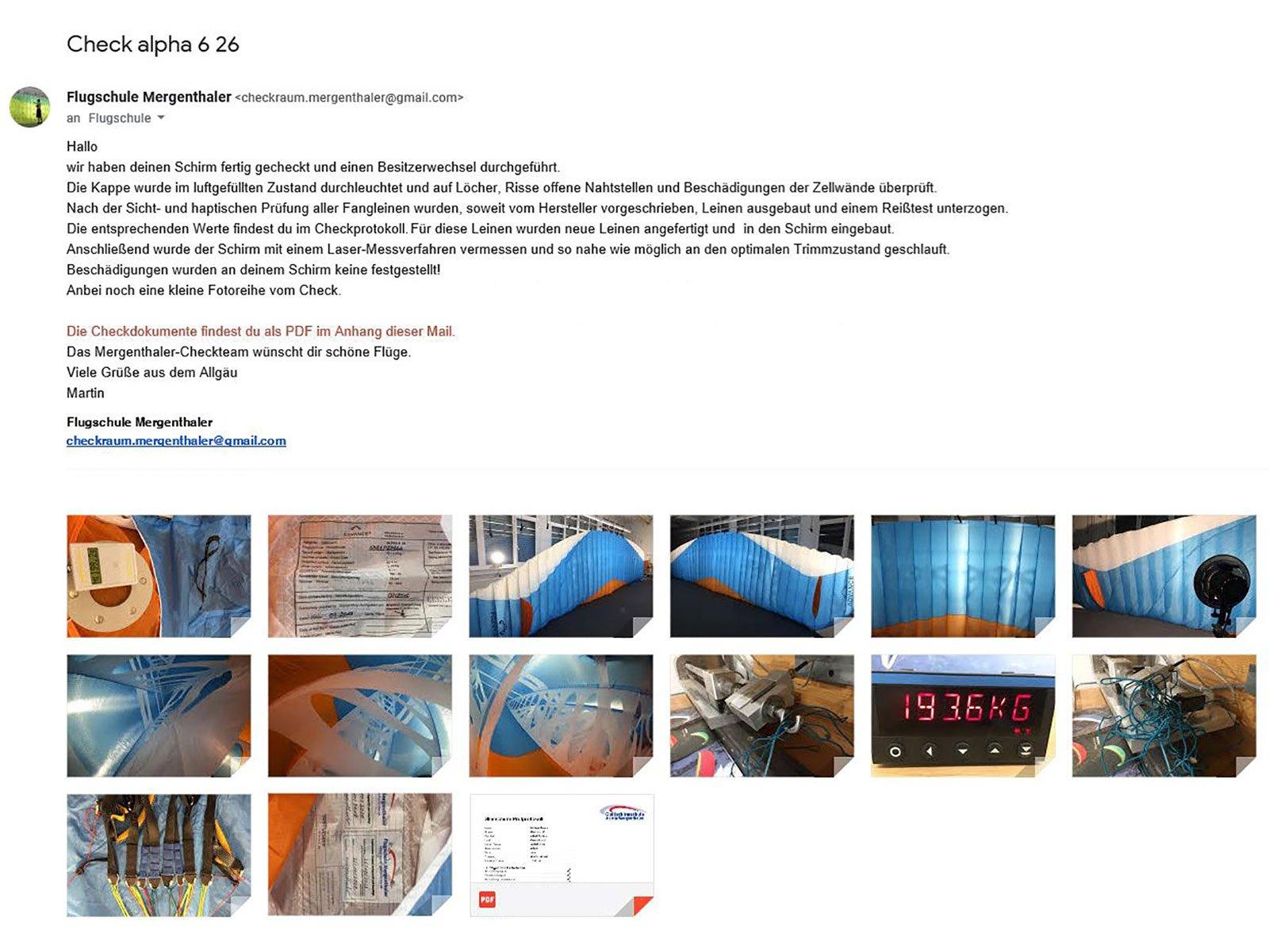 Check Alpha 6 Info und Fotodokumentation Gleitschirmcheck